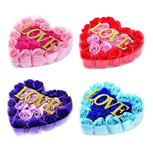 Hộp quà tặng trái tim hoa hồng sáp cao cấp chữ love lãng mạn sm005-100233-056