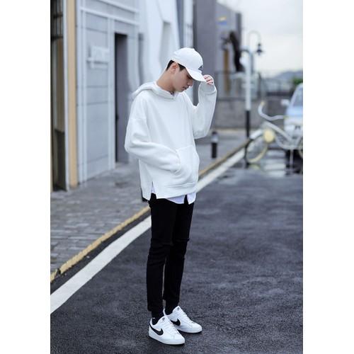 Áo khoác hoodie basic white unisex