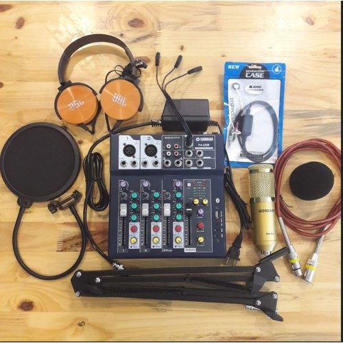 Trọn bộ thu âm - combo mixer f4 bluetooth - bm900