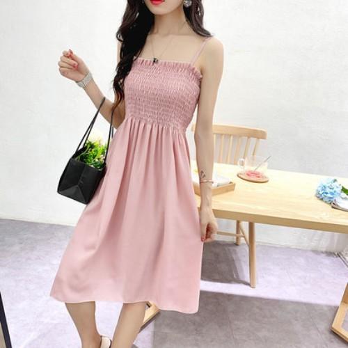 [Big sale 3 ngày] váy chun ôm ngực - váy 2 dây chun ôm chất cát hàng quảng châu loại 1