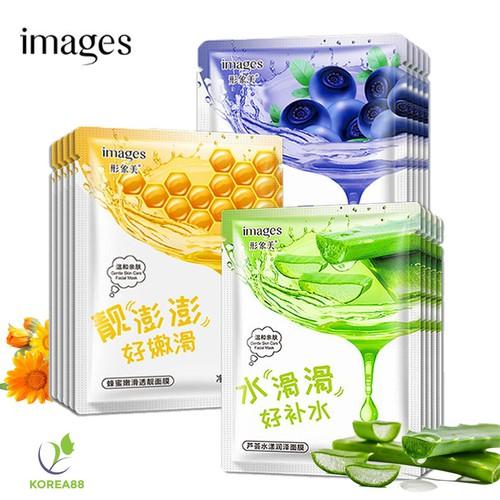 Combo 10 mặt nạ giấy dưỡng trắng da images mix 3 loại lô hội, việt quất, mật ong mặt nạ nội địa trung kr-ma62