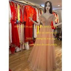 áo cưới hồng da nude tùng suôn dạ tiệc