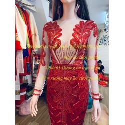 áo cưới đuôi cá đỏ đô cao cấp sang trọng tay dài