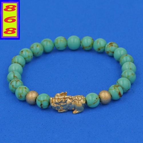 Chuỗi đeo tay san hô xanh ngọc sọc 6 ly cẩn tỳ hưu inox vàng vshxnsthhbv6