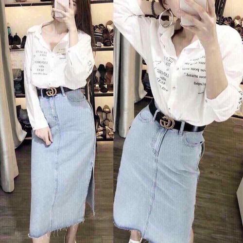 Set áo sơmi in chân váy jeans