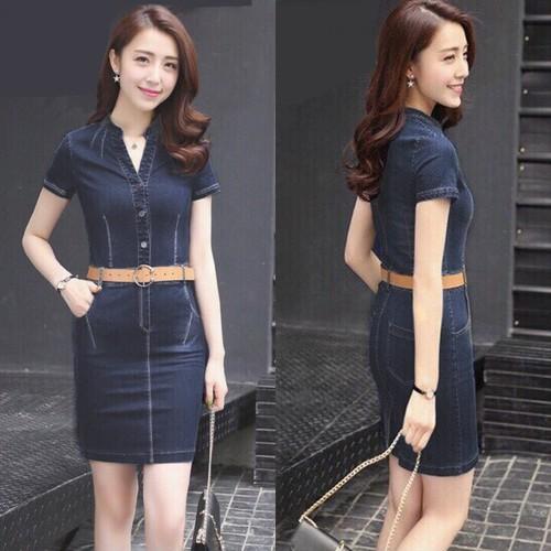 Đầm jean nữ ngắn tay body cổ trụ năng động - 12827992 , 20762053 , 15_20762053 , 189000 , Dam-jean-nu-ngan-tay-body-co-tru-nang-dong-15_20762053 , sendo.vn , Đầm jean nữ ngắn tay body cổ trụ năng động