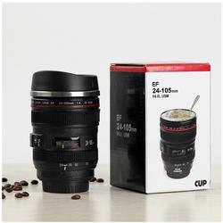 Ly Cốc cà phê 350ml hình ống kính máy ảnh 24-105 có nắp đậy