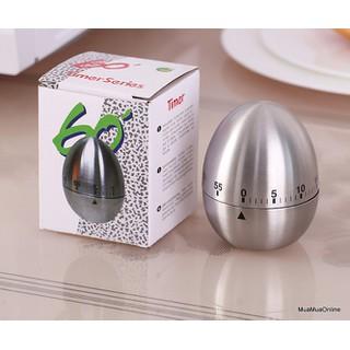 Đồng Hồ Hẹn Giờ Cơ Học Nhà Bếp Hình Quả Trứng Vỏ Inox - 8615 thumbnail
