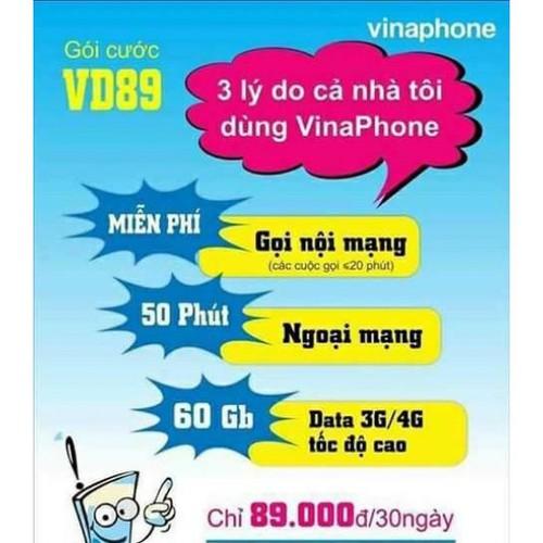 Sim 4g vina vd89 giống v90 viettel số đẹp giá rẽ miễn phí nghe gọi lên mạng 60gb tháng