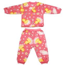 Bộ quần áo nỉ lót bông cực đẹp cúc cài giữa cho bé gái từ 4-14 kg _BNGC - ảnh thật - bộ quần áo thu đông cho bé, bộ nỉ bông