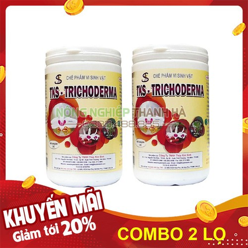Phân bón nấm đối kháng trichoderma trị nấm bệnh vi khuẩn lọ 1kg - set 2 lọ