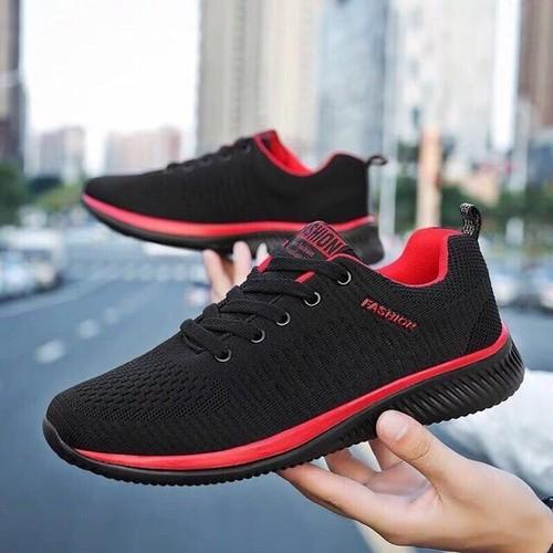Giày thể thao nam, giày  sneaker 2 màu ghi và đen đỏ