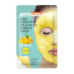 Mặt nạ sủi bọt thải độc  Purederm Deep Purifying Yellow O2 Bubble Mask - Tinh chất nghệ trắng da