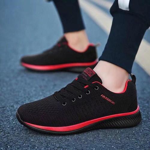 Giày sneaker nam fashion - đen phối đỏ