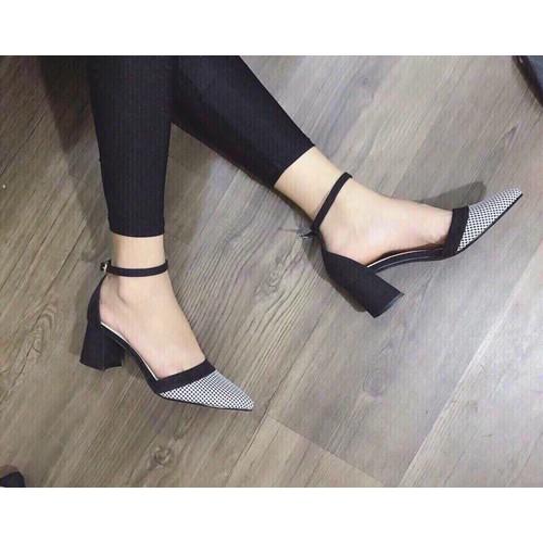Giày sandal cao gót nữ mũi nhọn họa tiết kẻ cực thời trang