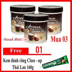 Combo 3 Kem ủ tóc dừa Già Jena Thái Lan Coconut Hair Treatment Wax 500ml tặng kem đánh răng Closeup - Combo 3 ủ dừa già