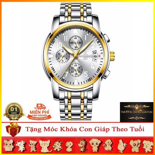 Đồng hồ nam ontheedge chính hãng dây thép chống nước mặt kính sapphire - trắng viền vàng