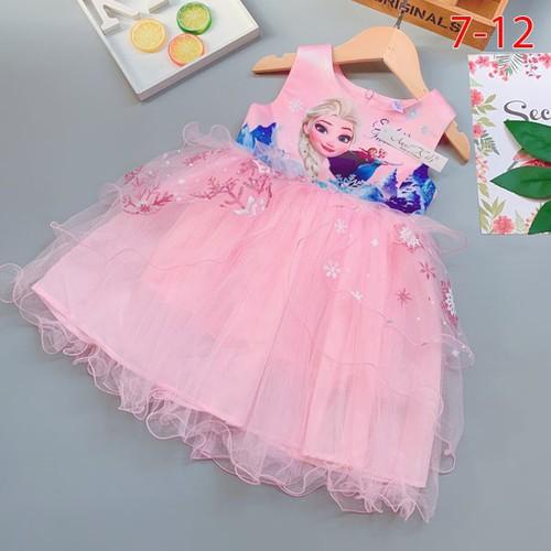 Đầm hồng công chúa elsa cho bé 4-7 tuổi