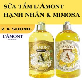 Combo 2 chai Sữa Tắm LAmont En Provence Hương Hạnh nhân và Hương Hoa Mimosa - HẠNH NHÂN + MIMOSA