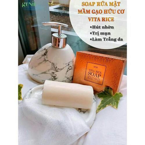 Soap rửa mặt trị mụn sáng da genie vita rice chiết xuất mầm gạo hữu cơ