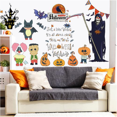 Combo decal dán tường - bộ xường kết hợp halloween họat hình