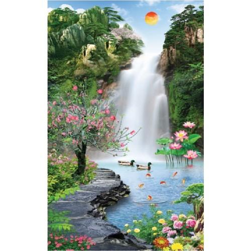 Tranh dán tường khổ dọc vtc thác nước hoa sen ud0330b kt 65 x 100 cm