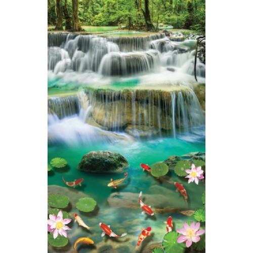 Tranh dán tường khổ dọc vtc thác nước cửu ngư hoa sen ud0329c kt 120 x 190 cm