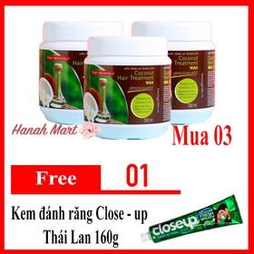 Combo 3 kem ủ tóc dừa non Thái Lan Coconut hair treatment 500ml - hộp tặng kem đánh răng Closeup - Combo 3 Dừa Non