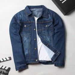 Áo khoác jean nam xanh đậm xước đẹp, chất jean dày SG85 Saosaigon