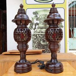 Cặp đèn thờ gỗ tràm bông vàng cao 48 cm