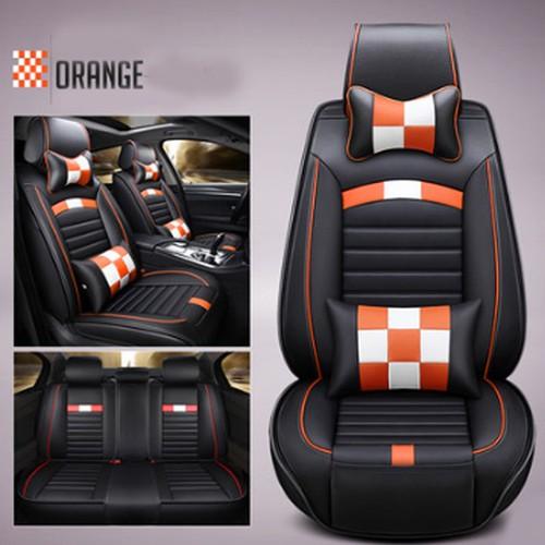 Áo bọc ghế ô tô 5 chỗ phong cách thể thao đen phối cam -mẫu 22