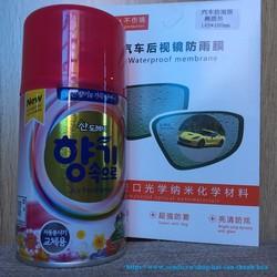 Combo 2 sản phẩm 2 Miếng dán chống bám nước gương chiếu hậu và Chai xịt khử mùi hương thơm Cafe