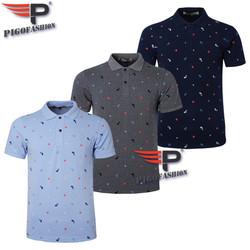 Bộ 3 Áo thun nam cổ bẻ họa tiết biển xanh chuẩn mọi phong cách Pigofashion cao cấp AHT20 - xám đậm, xanh đen, biển