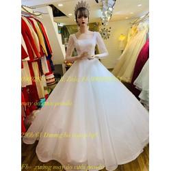 áo cưới tay dài trắng kim tuyến
