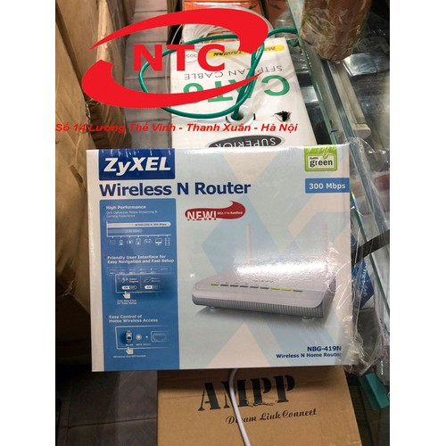 Bộ phát sóng wifi zyxel nbg-419n 2 râu mới chính hãng