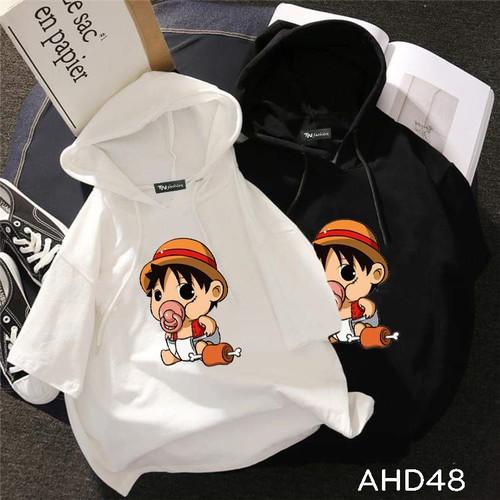 Áo thun teen nam nữ hoodie tay lỡ có nón hình luffy one piec