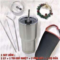 Ly giữ nhiệt inox THÁI LAN dung tích 900ml tặng kèm túi và 2 ống hút + 1 que rửa ống