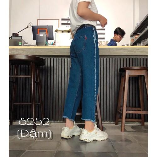 [Ảnh thật, video thật] quần baggy jean ống rộng lưng cao 252 xanh đậm