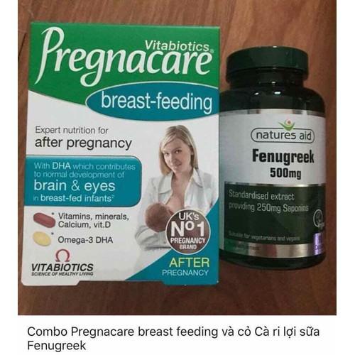 Combo pregnacare breast feeding và cỏ cà ri lợi sữa fenugreek