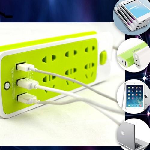 Ổ điện xanh lá có 3 usb sạc điện thoại