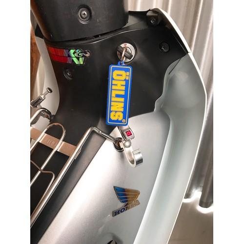 [Các biker ơi] móc khóa nhựa logo ohlins chữ nỗi cao cấp nền xanh