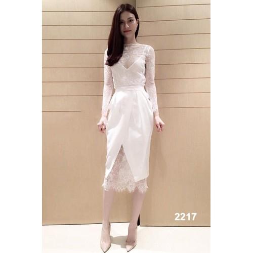 Đầm body trắng phối ren 2217