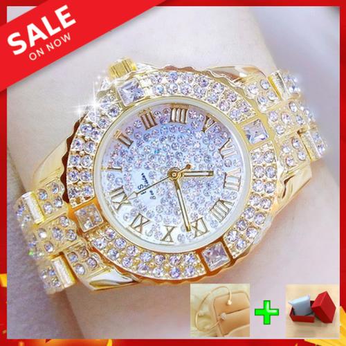 Đồng hồ nữ mặt đính đá siêu đẹp - đồng hồ nữ tặng hộp & lắc tay