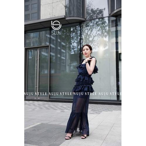 Đầm dài vintage von tơ cao cấp đd002