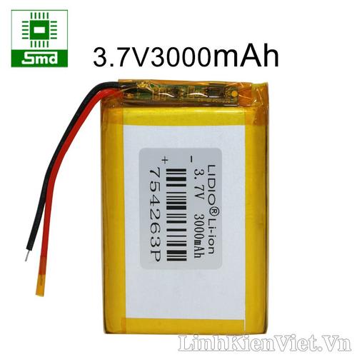 Pin lithium 754263 3000mah 3.7v