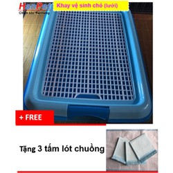 Khay vệ sinh cho chó dạng lưới cải tiến-Tặng 3 tấm lót chuồng sàn xe