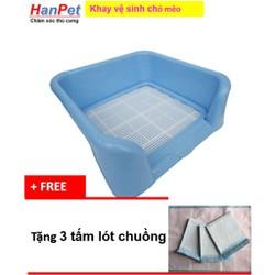 Gò vấp Khay vệ sinh dạng bức tường cho chó đực bằng nhựa cao cấp có lưới hanpet 378 Tặng 3 tấm tã lót chuồng