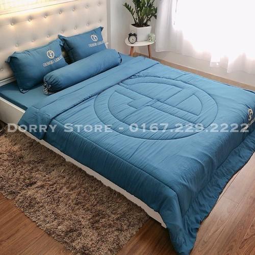Chăn ga gối trải giường ga gối đũi hè thêu logo thương hiệu hàng việt nam