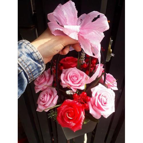 Giỏ hoa hồng giấy nhún - 12610231 , 20451108 , 15_20451108 , 250000 , Gio-hoa-hong-giay-nhun-15_20451108 , sendo.vn , Giỏ hoa hồng giấy nhún