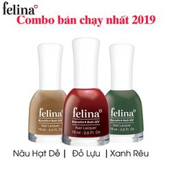 Combo 3 chai sơn màu Felina 18ml – Nâu Hạt Dẻ, Đỏ Lựu, Xanh Rêu